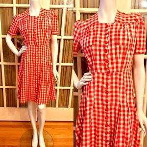 Vintage Red and White Cotton Checkered Dress
